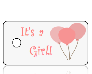 Birth Announcement Girl Pink Balloons Key Tags