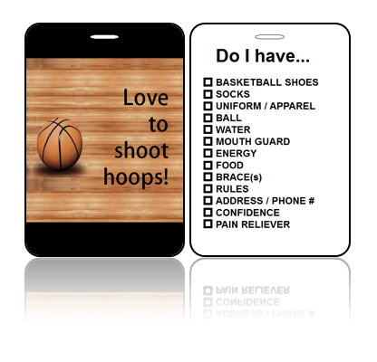 Sports Bag Tag Love Hoops