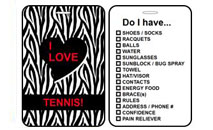 Sports Bag Tags Tennis Zebra Print