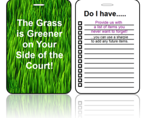 Sports Bag Tags Tennis Greener Grass