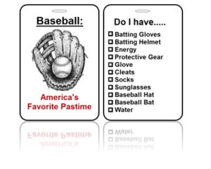 Sports Bag Tags Baseball America Pastime
