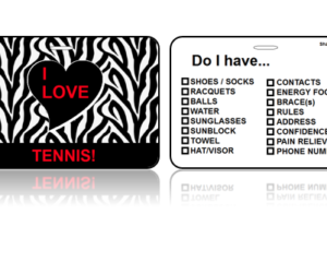 Sports Bag Tags Love Tennis Zebra Print