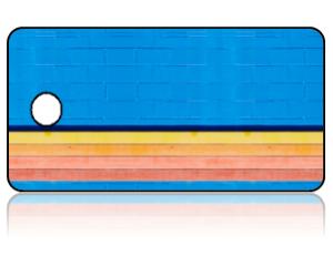Create Design Key Tags Blue Bricks Background