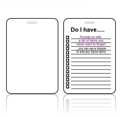 Create Design Bag Tag Optional Checklist Back