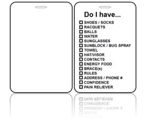 Create Design Bag Tag Tennis Checklist