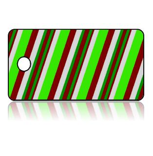 Create Design Key Tags Green Red White Slanted Stripes