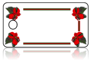 Create Design Key Tags Red Poinsettia Flowers Boarder