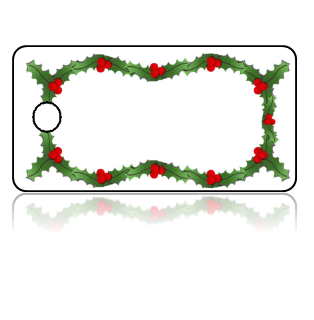 Create Design Key Tags Green Holly Red Berries Garland Border
