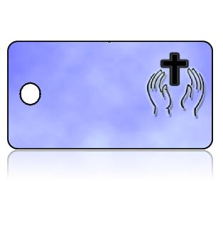 Create Design Key Tags Blue Background Black Cross Hands