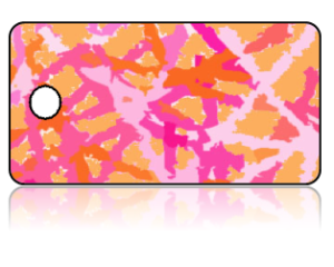 Create Design Key Tags Pink Orange Paint Splatter Modern