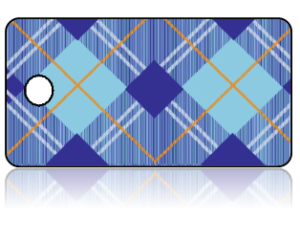 Create Design Key Tags Blue Plaid Pattern