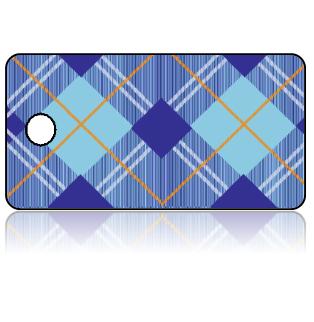 Create Design Key Tags Blue Plaid Pattern