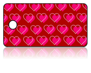 Create Design Key Tags Red Background Pink Hearts Pattern