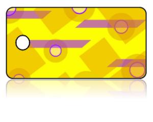 Create Design Key Tags Yellow Purple Retro Pattern