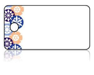 Create Design Key Tags Blue Peach Modern Circle Pattern