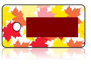 Create Design Key Tags Leaves Orange Red Gold
