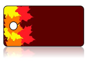 Create Design Key Tags Leaves Fall Colors Border Brown Background