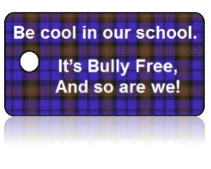Bully Free Purple Plaid Education Key Tags