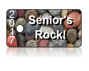 Seniors Rock 2017 White Letters Key Tags