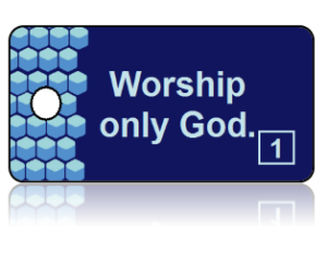 1st Commandment Bible Scripture Blue Key Tags