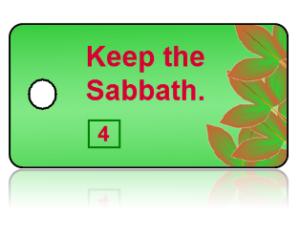 4th Commandment Bible Scripture Green Key Tags