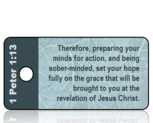 ScriptureTagA2 - ESV - 1 Peter 1 vs 13 - Blue Leaf Print
