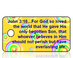 John 3:16 Bible Scripture Yellow Multi Color Retro Circles Key Tags