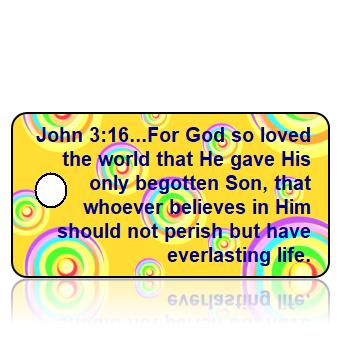 ScriptureTagA20 - NKJV - John 3 vs 16 - Yellow Multi Color Retro Circles