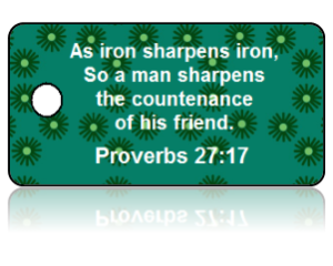 Proverbs 27:17 Bible Scripture Green Key Tags