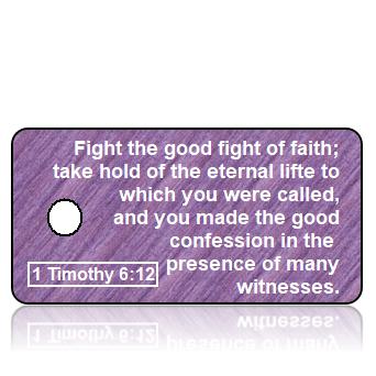 ScriptureTagA3 - ASV -1 Timothy 6 vs 12 - Purple Texture Fabric