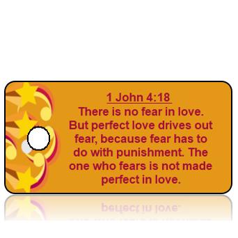 ScriptureTagA44 - 1 John 4 vs 18 - Stars Border with Orange Background