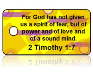 2 Timothy 1:7 Bible Scripture Yellow Key Tags