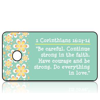 ScriptureTagAA1 - ERV - 1 Corinthians 16 vs 13-14 - Golden Daisy Border