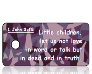 1 John 3 vs 18 - Purple Camouflage