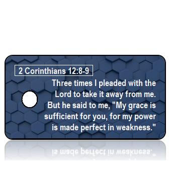 ScriptureTagAA28 - NIV - 2 Corinthians 12 vs 8-9 - Navy Blue GeoGrid