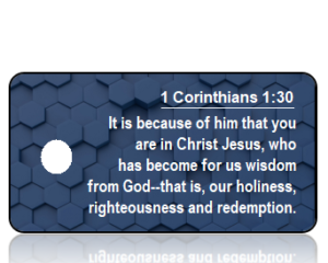 1 Corinthians 1:30 Bible Scripture Key Tag (NIV)