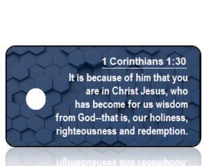 1 Corinthians 1:30 Bible Scripture Key Tag (NIV)