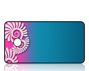Create Design Key Tags Blue Pink Paisley Modern