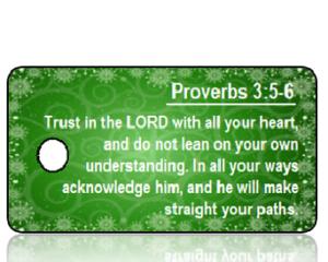 ScriptureTagC5 - Proverbs 3 vs 5-6 - Green Background with Snowflakes