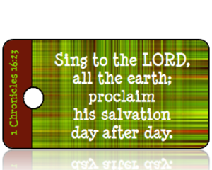 1 Chronicles 16 vs 23 - Green Plaid Background REVISED