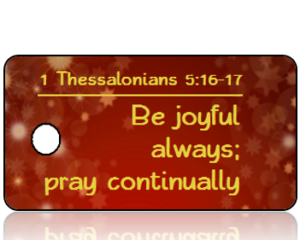 Thessalonians 5 vs 16-17 - Red with Gold Star Bursts