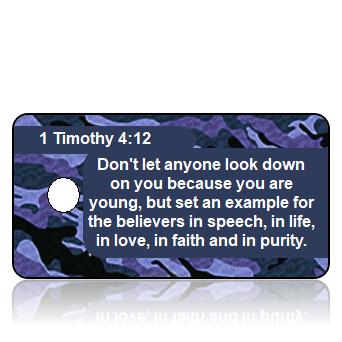 ScriptureTagD31 - NIV - 1Timothy4vs12 - Purple Camouflage