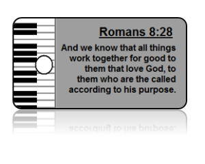 Romans 8:28 Bible Scripture Piano Key Tags