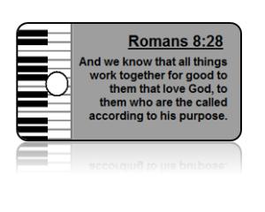 Romans 8:28 Bible Scripture Piano Key Tags