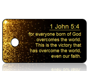 1 John 5:4 Bible Scripture Key Tag (NIV)