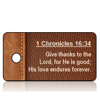 ScriptureTagD81 - NIV - 1 Chronicles 16 vs 34 - Brown Leather Book Binder