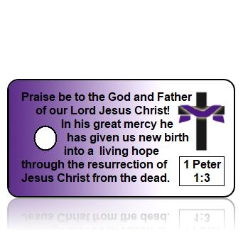 ScriptureTagE1 - NIV - 1 Peter 1 vs 3 - Purple Background Cross Shroud