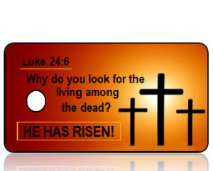 Luke 24 vs 6 - Crosses on Orange Background