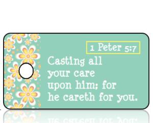 ScriptureTagE7 - 1 Peter 5 vs 7 - Golden Daisy Border