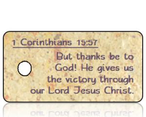 1 Corinthians 15 vs 57 - Tan Speckled Paper